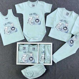 ست 5 تکه لباس نوزاد زیر دکمه دار آرزو طرح تلفن