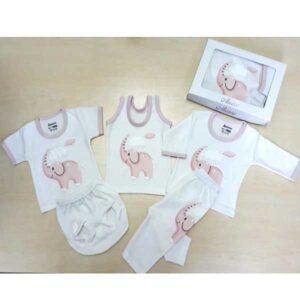 ست 5 تکه لباس نوزاد آرزو طرح فیل