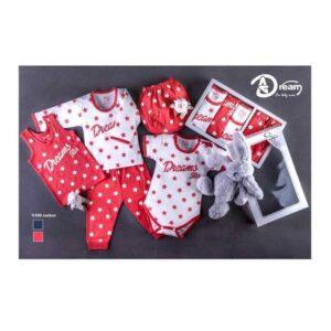 ست 5 تکه لباس نوزاد زیر دکمه دار آرزو طرح ستاره