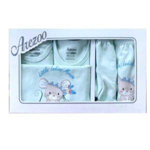 ست 5 تکه لباس نوزاد زیر دکمه دار آرزو طرح موش